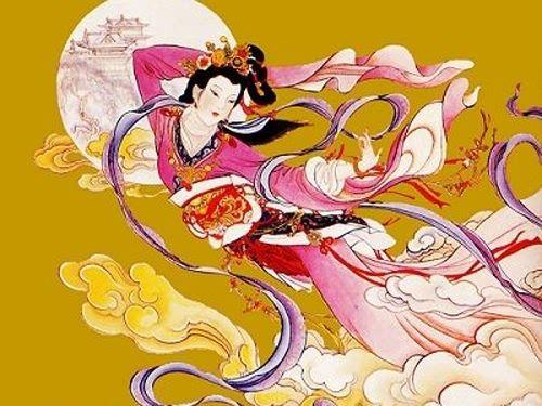 Chang'e drifts off to the moon after drinking that fateful elixir. source: http://www.mydestination.com/