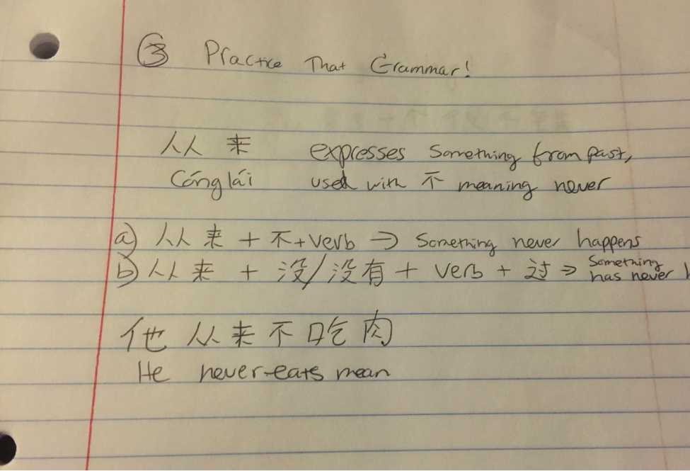 chinese diary entry format